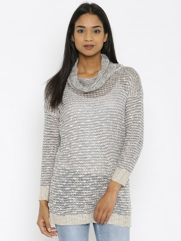 U.S. Polo Assn. Women Beige & Navy Patterned Sweater at myntra