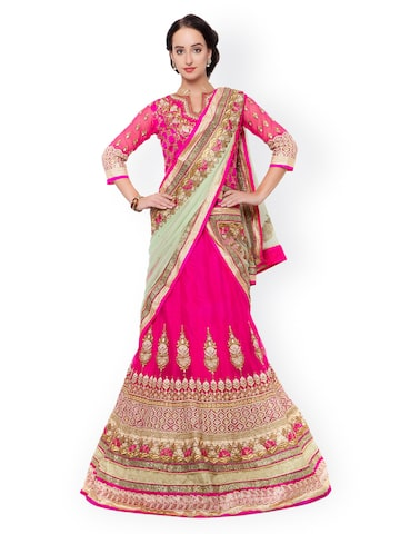 Triveni Pink Embellished Net Semi-Stitched Lehenga Choli with Dupatta at myntra