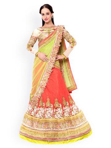 Triveni Orange & Green Embellished Raw Silk & Net Semi-Stitched Lehenga Choli with Dupatta at myntra