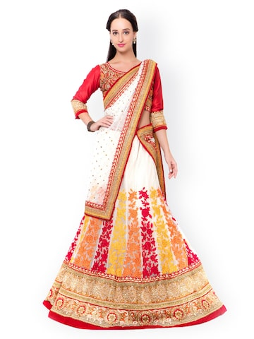 Triveni Red & White Embroidered Net & Raw Silk Semi-Stitched Lehenga Choli with Dupatta at myntra
