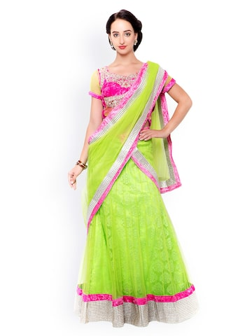 Triveni Green & Pink Embroidered Net & Velvet Semi-Stitched Lehenga Choli with Dupatta at myntra