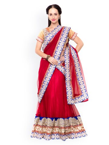 Triveni Red Embroidered Net & Velvet Semi-Stitched Lehenga Choli with Dupatta at myntra