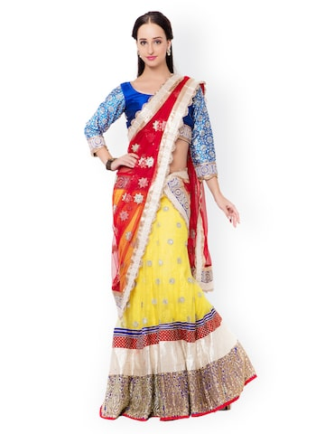 Triveni Red & Yellow Embellished Net & Silk Semi-Stitched Lehenga Choli with Dupatta Triveni Lehenga Choli at myntra