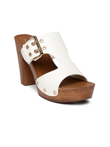 Catwalk Women White Solid Sandals at myntra