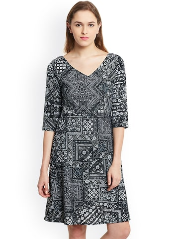 The Gud Look Women Black Printed A-Line Dress at myntra
