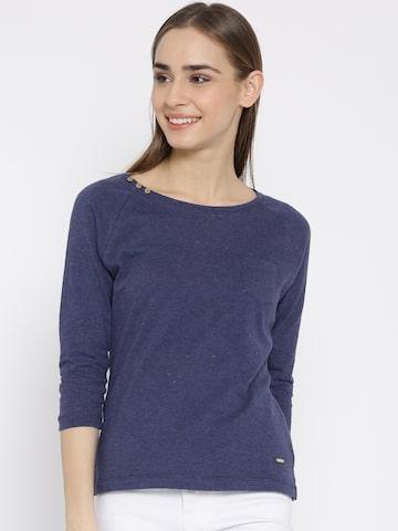 Numero Uno Women Blue Solid Round Neck T-shirt at myntra
