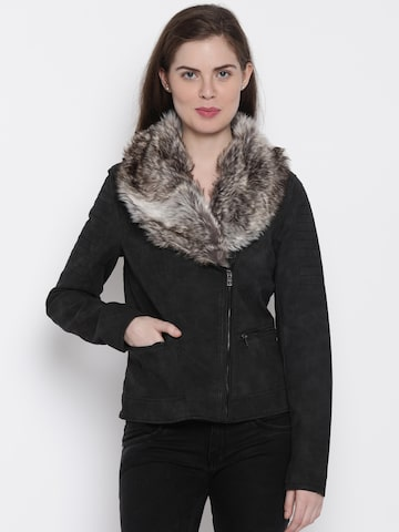ONLY Black Hooded Biker Jacket at myntra