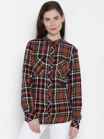 ONLY Women Brown Checked Casual Shirt at myntra