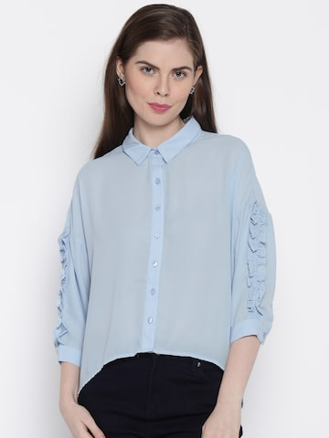 ONLY Women Blue Solid Casual Shirt at myntra