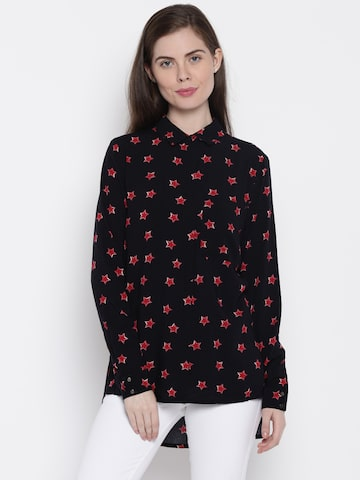 ONLY Women Black Printed Casual Shirt at myntra