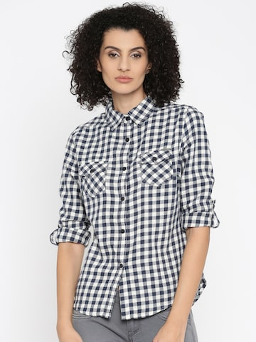 Flying Machine Women Navy Blue Checked Casual Shirt at myntra