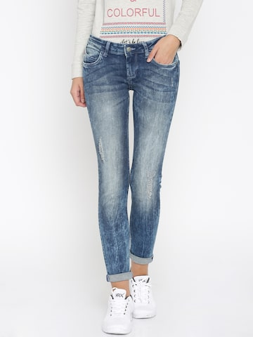 Flying Machine Women Blue Super Twiggy Fit Low-Rise Jeans at myntra