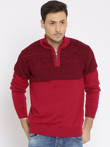 Indian Terrain Red Cardigan Fit Sweater at myntra