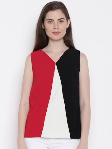 Allen Solly Woman Women Red & Black Solid Top at myntra