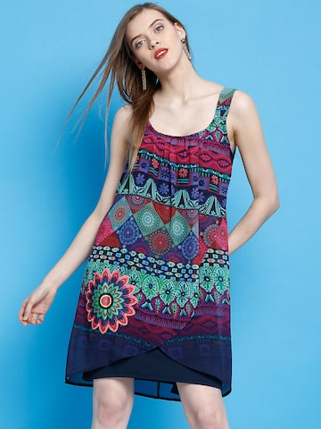 Desigual Women Navy Blue Printed A-Line Dress at myntra