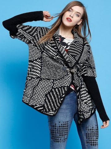 Desigual Black & Off-White Patterned Coat at myntra