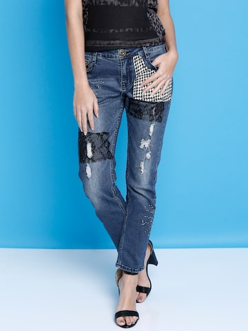 Desigual Women Blue Mid-Rise Mildly Distressed Jeans at myntra
