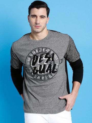 Desigual Men Grey Brand Print Round Neck T-shirt at myntra