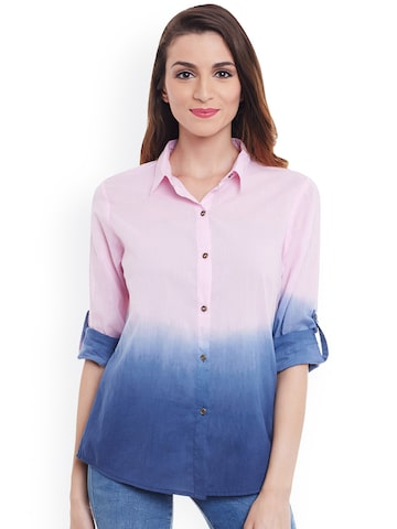 PURYS Women Pink & Blue Regular Fit Solid Casual Shirt at myntra