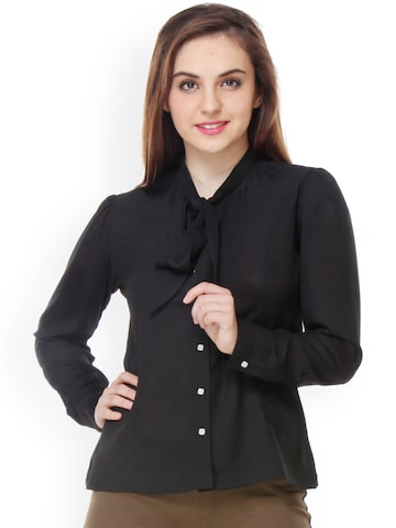 PURYS Women Black Regular Fit Solid Casual Shirt at myntra