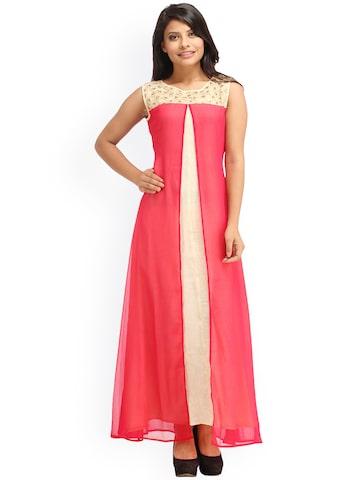 Cottinfab Women Red Solid Maxi Dress at myntra