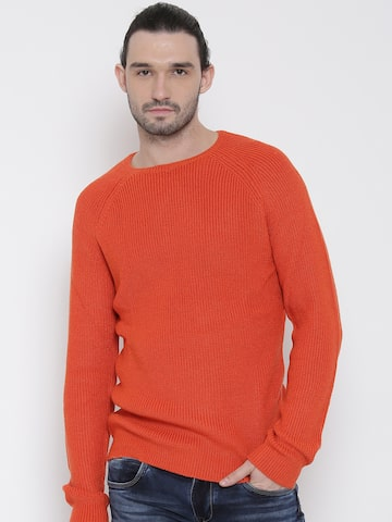 United Colors of Benetton Men Orange Solid Sweater at myntra