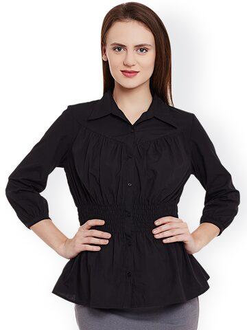 L ELEGANTAE Women Black Regular Fit Solid Casual Shirt at myntra