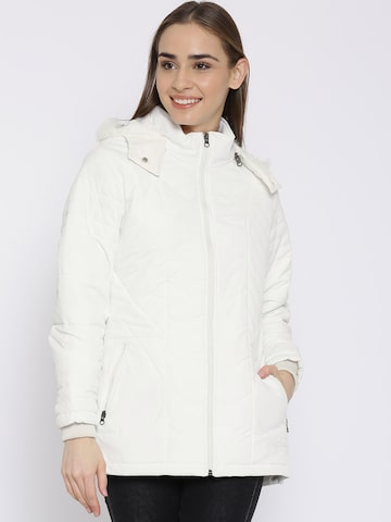Fort Collins White Parka Jacket with Detachable Hood at myntra
