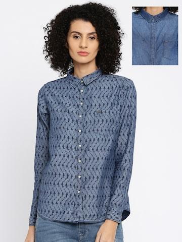 Lee Women Blue Printed Reversible Casual Shirt at myntra