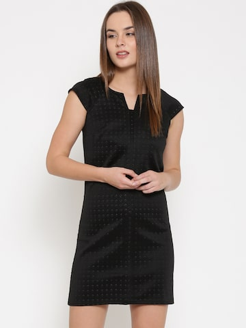 Vero Moda Women Black Self-Design Shift Dress at myntra