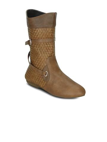 Get Glamr Women Tan Textured High-Top Flat Boots at myntra