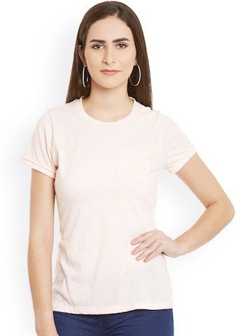 Cherymoya Women Pink Solid Round Neck T-Shirt at myntra