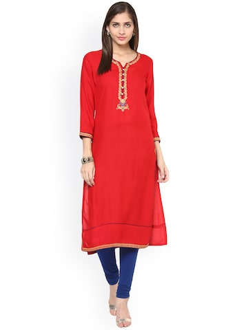 Prakhya Women Red Solid Straight Kurta at myntra