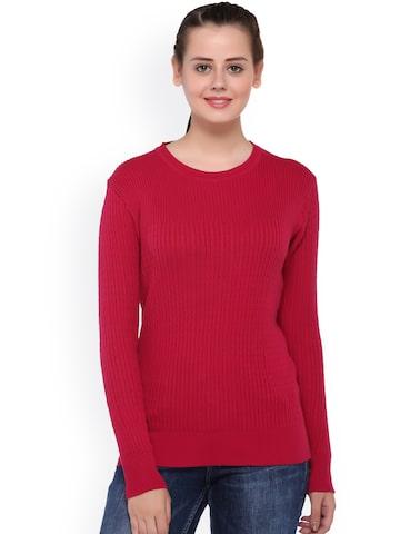 Club York Pink Self-Striped Sweater at myntra