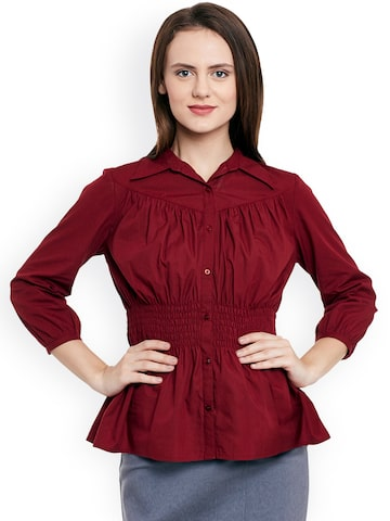 L ELEGANTAE Women Maroon Solid Formal Shirt at myntra