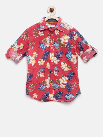 U.S. Polo Assn. Kids Boys Coral PInk Floral Print Casual Shirt at myntra