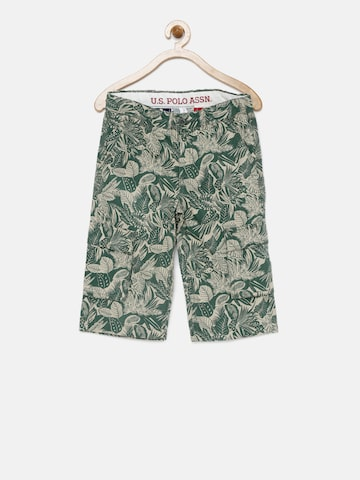 U.S. Polo Assn. Kids Boys Green Printed Regular Fit Shorts at myntra