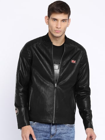 Pepe Jeans Black Bomber Jacket at myntra