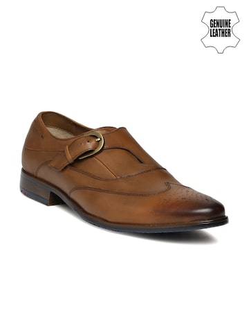 Ruosh Work Men Brown Genuine Leather Semiformal Monk Shoes at myntra