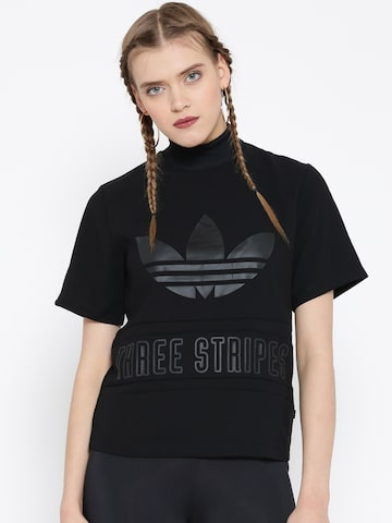Adidas Originals Women Black Printed High Neck T-shirt at myntra