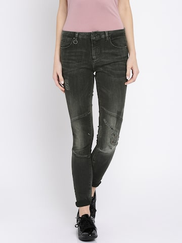 ONLY Women Charcoal Grey Skinny Fit Mid-Rise Mildly Distressed Jeans at myntra
