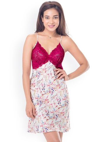 PrettySecrets White & Pink Printed Satin Nightdress with Lace Detail PS0916STRPSCS01 at myntra