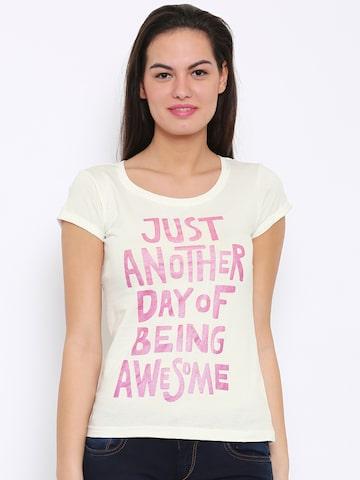 Flying Machine Women White Printed Round Neck T-Shirt at myntra