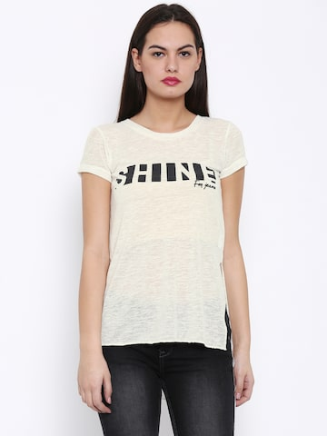 Flying Machine Women Off-White Printed Round Neck High Slit T-shirt at myntra