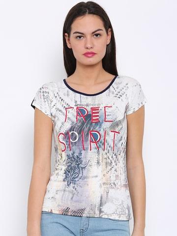 Flying Machine Women Off-White & Navy Printed Round Neck T-shirt at myntra