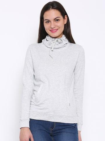 Flying Machine Grey Melange Sweatshirt at myntra