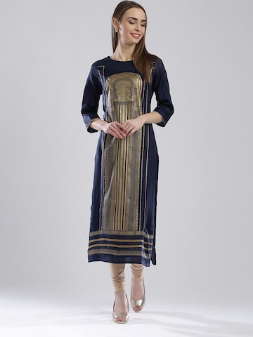 W Women Navy Printed Straight Kurta at myntra