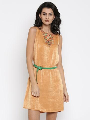 Global Desi Women Orange Solid A-Line Dress at myntra