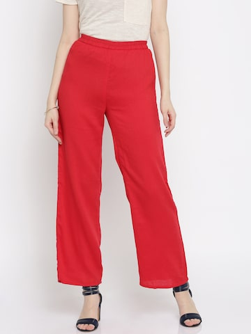 Global Desi Women Red Solid Regular Fit Palazzos at myntra