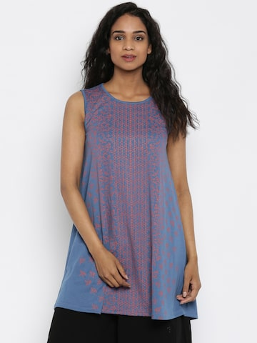 Global Desi Blue Printed Tunic at myntra